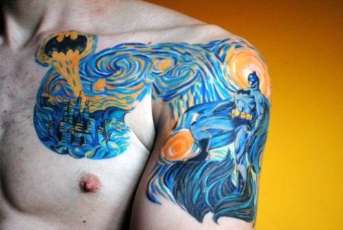 Tatuaje de Batman a lo Van Gogh