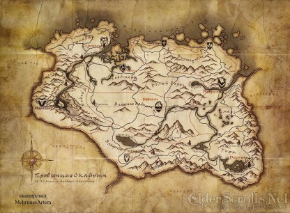 Mapa de Skyrim. Con qué poco somos felices.
