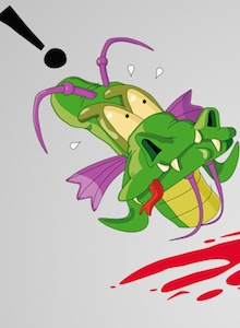Roswell reinterpretando Dragon's Lair